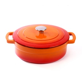 Orange Cast Iron Shallow Casserole Dish