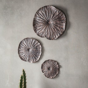 Lotus Set of 3 Bronze Wall Ornaments