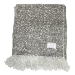 Chic Grey Faux Mohair Throw