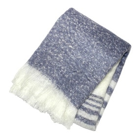 Retreat Blue Mohair Stripe Throw
