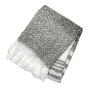 Retreat Grey Mohair Stripe Throw