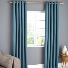 Payson Teal Blackout Eyelet Curtains