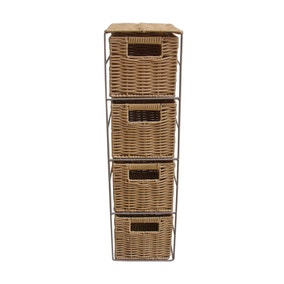 Four Tier Natural Bathroom Storage Tower