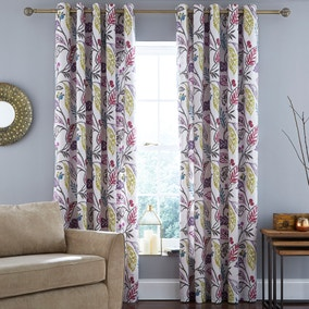 Indiana Berry Lined Eyelet Curtains