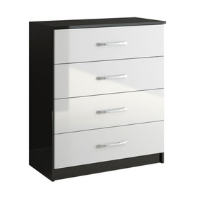 Lynx Black and White 4 Drawer Chest