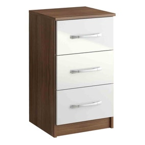 Lynx Walnut and White 3 Drawer Bedside Table