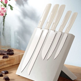 Candy Rose Cream 5 Piece Magnetic Knife Block