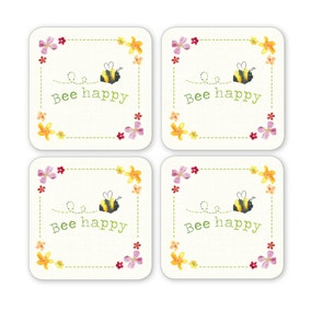 Bee Happy 4 Pack Coasters