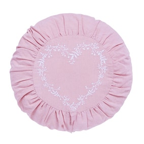 Ruched Pink Round Heart Cushion