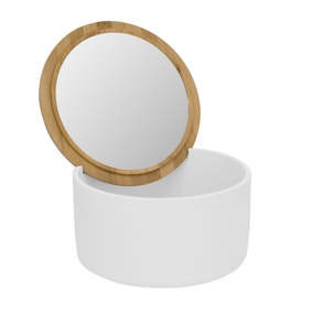 Elements White Mirror Storage Pot