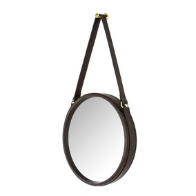 Brown Faux Leather Strap Mirror