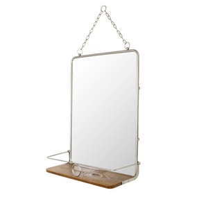 Keepers Lodge Satin Nickel Mirror with Shelf