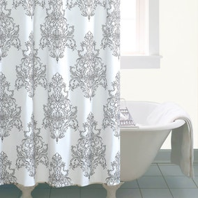 white and silver shower curtain. Versailles White Shower Curtain Curtains  Bathroom Rails Dunelm