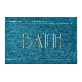 BATH Word Teal Bath Mat