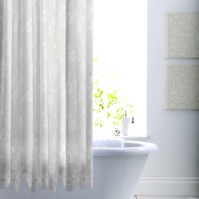 Lace White Shower Curtain