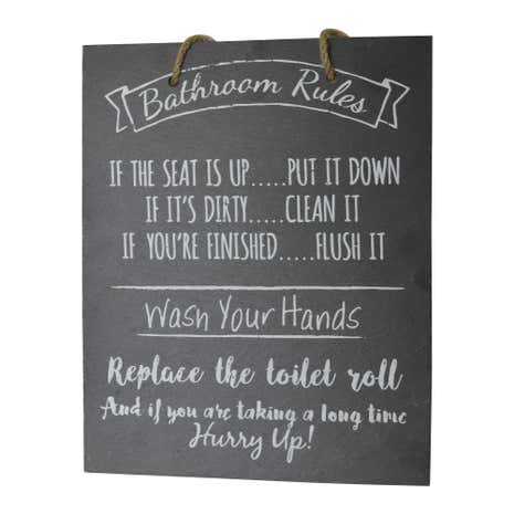Bathroom Rules Slate Plaque