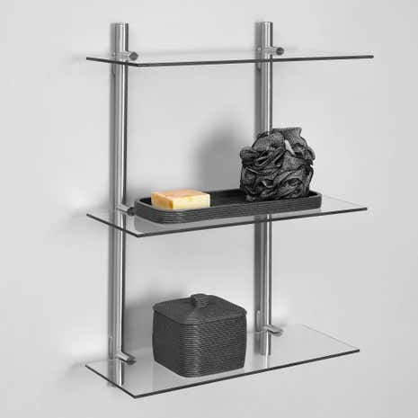 manhattan 3 tier glass shelf
