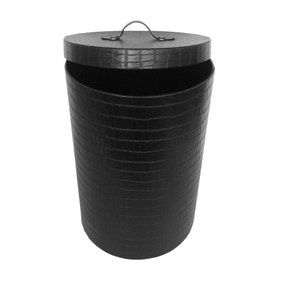 5A Fifth Avenue Mock Croc Black Laundry Hamper