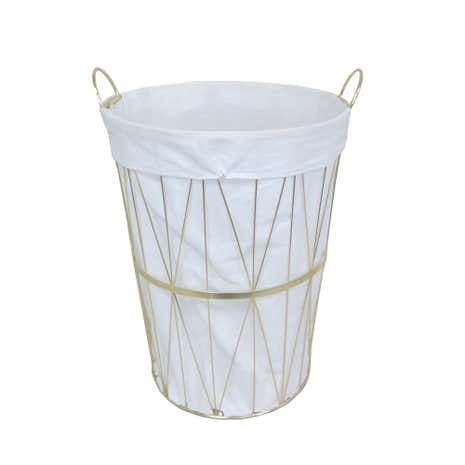 Deco Charm Gold Wire Laundry Basket