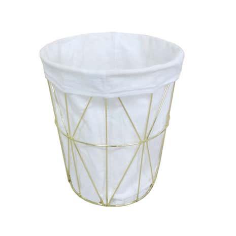 Deco charm gold wire waste bin dunelm for Gold bathroom bin
