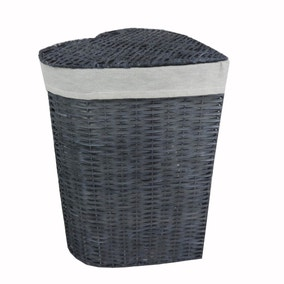 Grey Heart Wicker Laundry Hamper