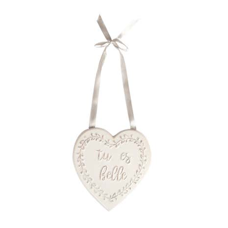 Maison White Heart Ceramic Plaque