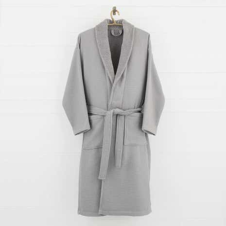 5A Fifth Avenue Grey Waffle Dressing Gown