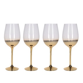 5A Fifth Avenue Gold Ombre Set of 4 White Wine Glasses