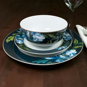 Charm 12 Piece Blue Floral Dinner Set