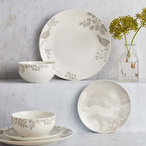 Woodland 12 Piece Taupe Dinner Set