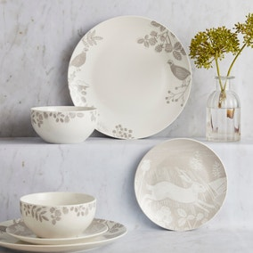 Wood Cut 12 Piece Taupe Dinner Set