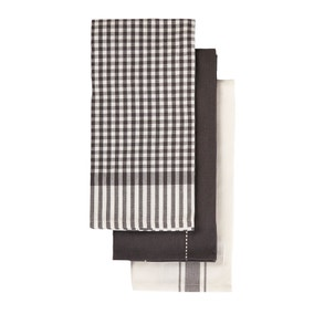 Black Check Pack of 3 Tea Towels