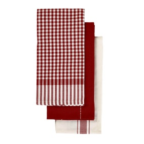 Red Check Pack Of 3 Tea Towels