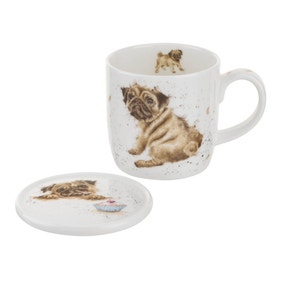 Wrendale Pug Love Mug & Coaster
