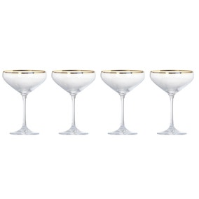 5A Fifth Avenue Pack of 4 Gold Rim Champagne Saucer
