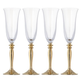 Pack of 4 Gold Stem Champagne Flutes