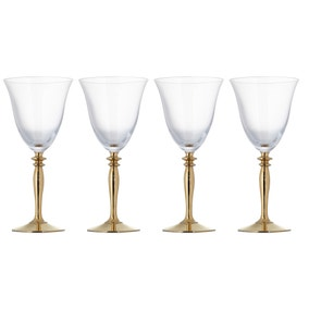 Pack of 4 Gold Stem Red Wine Glasses