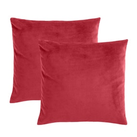 Pack of 2 Red Supersoft Velour Cushion Covers