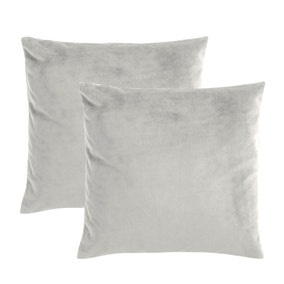 Pack of 2 Silver Supersoft Velour Cushion Covers