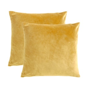 Pack of 2 Ochre Supersoft Velour Cushion Covers