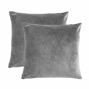 Pack of 2 Charcoal Supersoft Velour Cushion Covers