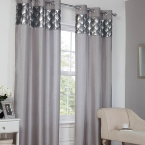Silver Deco Eyelet Curtains