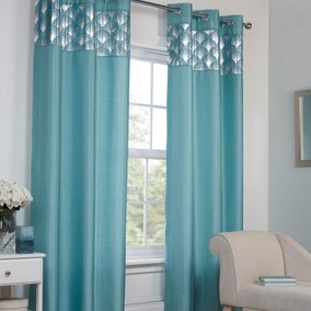 Teal Deco Eyelet Curtains