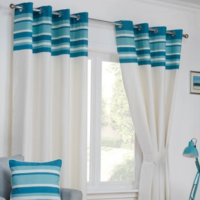 Stamford Teal Eyelet Curtains