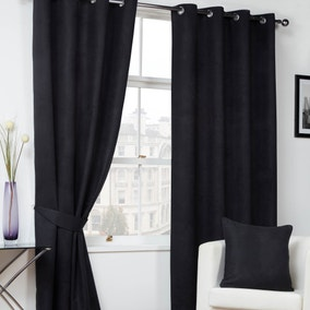 Black Faux Suede Eyelet Curtains