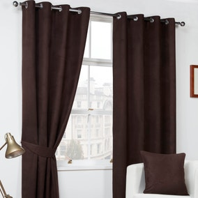 Chocolate Faux Suede Eyelet Curtains