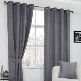 Grey Faux Suede Eyelet Curtains