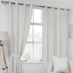 Faux Suede Natural Eyelet Curtains