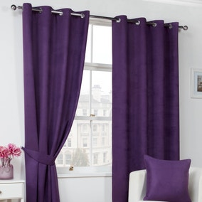 Faux Suede Plum Eyelet Curtains