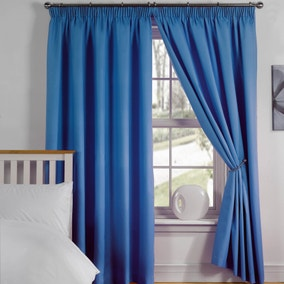 Simply Plain Blue Light Reducing Pencil Pleat Curtains